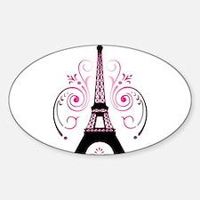 Eiffel Tower Gradient Swirl Sticker (Oval)