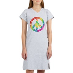 Rainbow Peace Symbols Women's Nightshirt