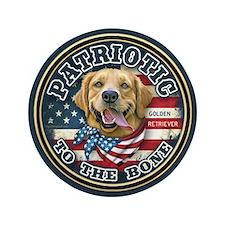 "Patriotic - Golden Retriever 3.5"" Button (100 pack"