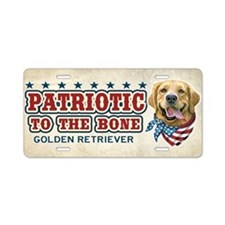 Patriotic - Golden Retriever Aluminum License Plat