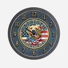 Patriotic - Golden Retriever Wall Clock
