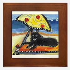 SCHIPPERKE at the beach Framed Tile