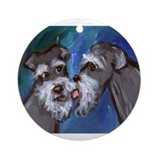 SCHNAUZER kisses schnauzer Ornament (Round)