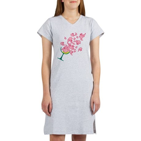 Glass of Pink Elephants Women's Nightshirt
