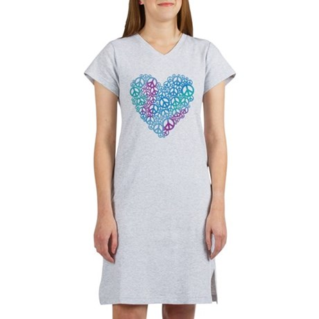 Peace Symbols Heart Women's Nightshirt