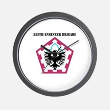 SSI - 555th Engineer Brigade with Text Wall Clock