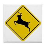 Deer Crossing Sign Tile Coaster