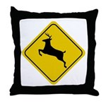 Deer Crossing Sign Throw Pillow