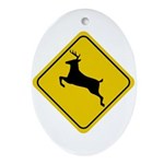 Deer Crossing Sign Oval Ornament