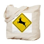 Deer Crossing Sign Tote Bag