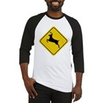 Deer Crossing Sign Baseball Jersey