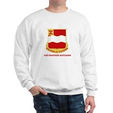 DUI - 4th Engineer Bn White T-Shirt with Text Swea