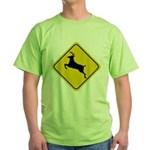 Deer Crossing Sign Green T-Shirt