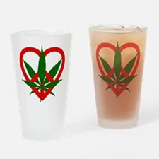 Peace Love and Pot Drinking Glass