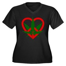 Peace Love and Pot Women's Plus Size V-Neck Dark T