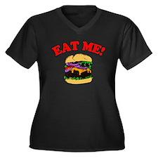 Eat Me! Women's Plus Size V-Neck Dark T-Shirt