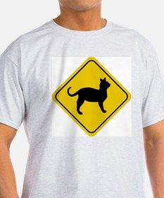 Cat Crossing Sign Ash Grey T-Shirt