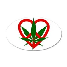 Peace Love and Pot 22x14 Oval Wall Peel