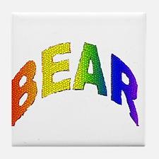 MOSAIC RAINBOW LETTERED BEAR Tile Coaster