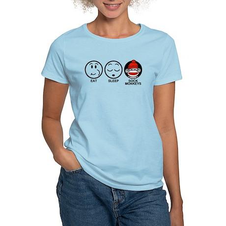 Eat Sleep Sock Monkeys Women's Light T-Shirt