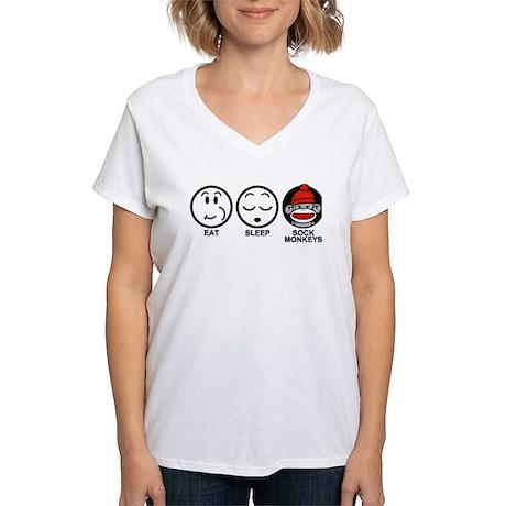 Eat Sleep Sock Monkeys Women's V-Neck T-Shirt