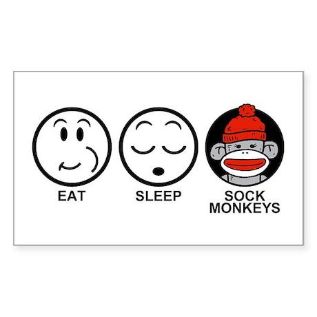 Eat Sleep Sock Monkeys Sticker (Rectangle)