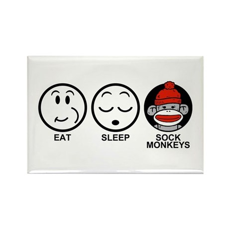 Eat Sleep Sock Monkeys Rectangle Magnet