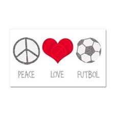 Peace Love Futbol Car Magnet 20 x 12