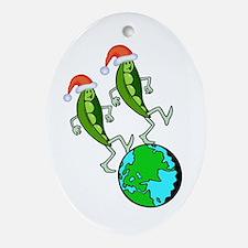Christmas Peas on Earth Ornament (Oval)