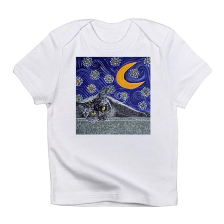 Starry night black cat Infant T-Shirt