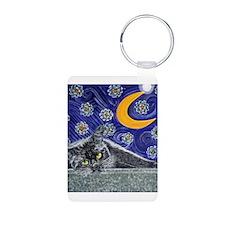 Starry night black cat Keychains