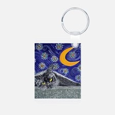 Starry night black cat Keychains