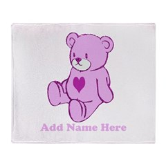 Personalized Cute pink heart Throw Blanket