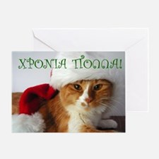 Christmas Cat in Santa Hat Greek Greeting Card