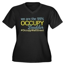 Occupy Boulder Women's Plus Size V-Neck Dark T-Shi