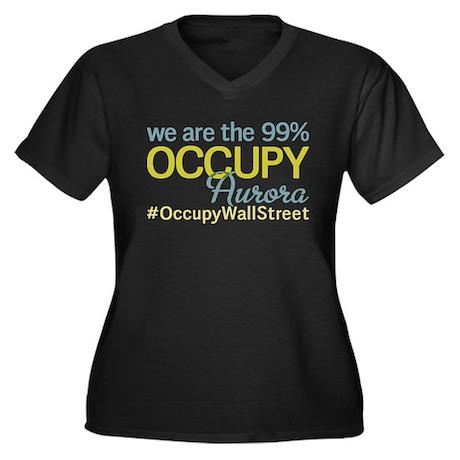 Occupy Aurora Women's Plus Size V-Neck Dark T-Shir