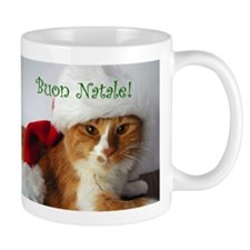 Italian Greeting Santa Cat Mug