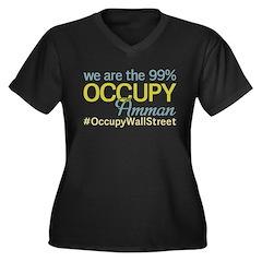 Occupy Amman Women's Plus Size V-Neck Dark T-Shirt