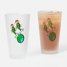 Christmas Peas on Earth Drinking Glass