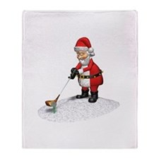 Golfing Santa Claus Throw Blanket