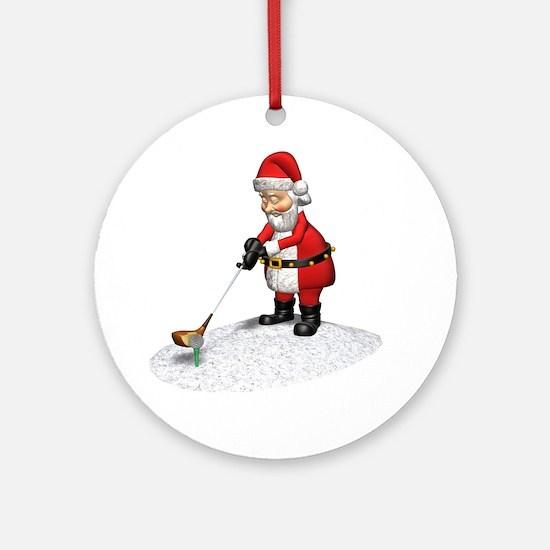 Golfing Santa Claus Ornament (Round)