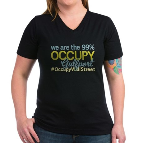 Occupy Gulfport Women's V-Neck Dark T-Shirt