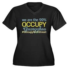 Occupy Guangzhou Women's Plus Size V-Neck Dark T-S