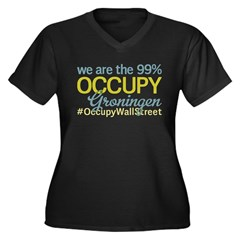 Occupy Groningen Women's Plus Size V-Neck Dark T-S