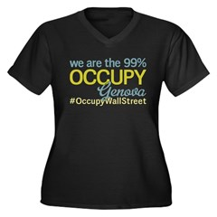 Occupy Genova Women's Plus Size V-Neck Dark T-Shir