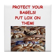 bagels and lox joke Tile Coaster