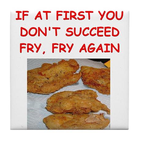 fried chicken joke Tile Coaster
