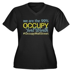Occupy Fort Worth Women's Plus Size V-Neck Dark T-