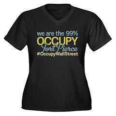 Occupy Fort Pierce Women's Plus Size V-Neck Dark T