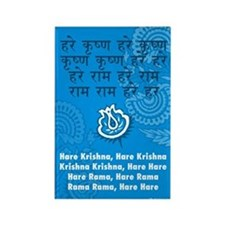 Blue Hare Krishna Mantra Rectangle Magnet